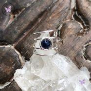 Blue Sapphire Silver Ear Cuff